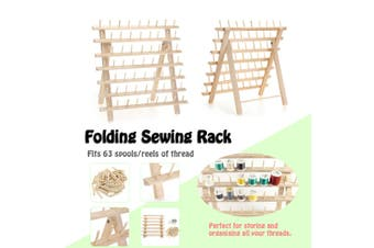 63 Spools Wood Sewing Thread Rack Stand Organizer Embroidery Storage Holder