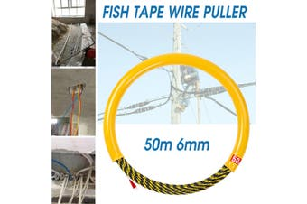 50M 6mm Cable Push Puller Rodder Conduit Snake Fish Tape 700KG Cable Tested Wire