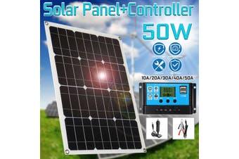50W 5V 18V Monocrystalline Solar Panel Battery Charger RV Motorhome Boats 10-50A