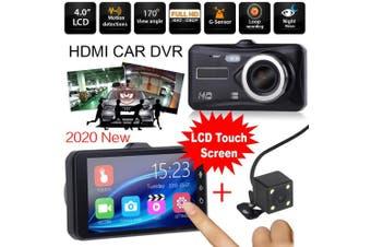 2020 New 1080P Touch Screen Car DVR Camera Recorder Dual Lens Front + Rear HD Dash Cam G-sensor Recorder