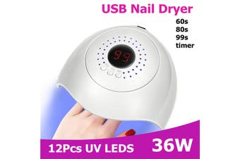 36W Nail Dryer LED UV Lamp Micro USB Nail for Lamps Curing LED Gel Builder 3 Timed Mode with Automatic Sensor Nail Dryers