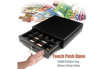 Heavy Duty Electronic Cash Drawer Cash Register POS 5 Bills 8 Coins Tray Manual