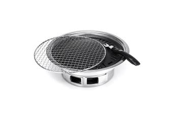 35cm Portable Charcoal BBQ Grill Kit Korean Style Broiler Barbecue Roasting Stove Outdoor Garden Party Camping Picnic Cooking Tool With Mesh+Puller