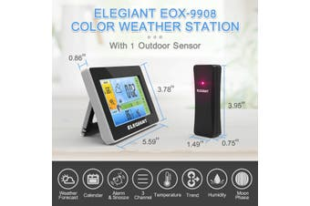 【Free Shipping】ELEGIANT EOX-9908 Color Weather Station Wireless Weather Station, ELEGIANT Digital Thermometer Hygrometer Indoor Outdoor Temperature Humidity with Large LCD Screen(wireless weather station)