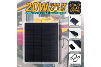 12V 20W DIY Solar Panel USB DC Charger Charging Portable Pad Universal For iPhone Huawei Charger with Sucker & Carabiner