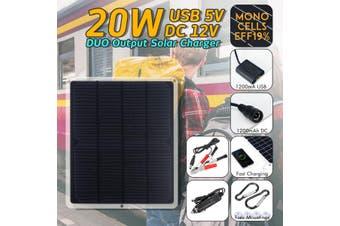 20W 12V Mono Flexible Solar Panel Kit For Mobilephone Camping Battery Q