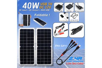 40W 12V Foldable Mono Solar Panel Dual USB Bat*tery Charger For Outdoor Camping