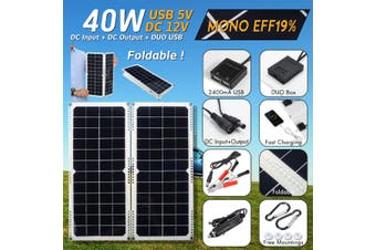 40W 12V Foldable 2 in 1 Mono Solar Power Charging Panel Dual USB Outdoor Camping