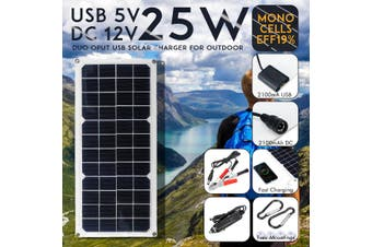 25W DUO Output 12V DC 5V USB Mono?Solar Power Charging Panel w Suckers & Carabiner for DUO Output for 12V 5V Camping Fan/Lamp/Power Generator System For iPhone Huawei