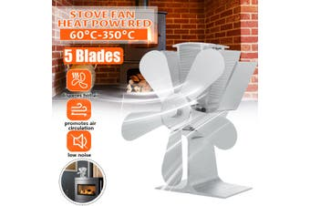 5 Blades Wood Heater Eco Fan Stove Fireplace Fire Heat Powered Circulating