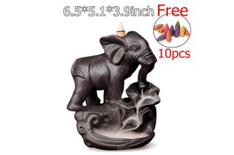 Elephant Ceramic Backflow Cone Incense Burner Porcelain Holder With 10 Cones(6.5x5.1x3.9inch)