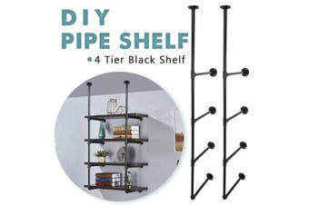 2PCS 4 Tier king do way Industrial Ladder Shelf DIY Pipe Floating Wall Mount Shelf Bookshelf Storage Bookcases
