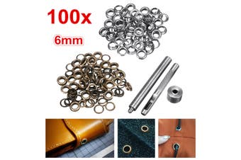100x 6mm Brass Eyelets Silver Bronze Punch Tool Kit Leather Craft Clothes DIY