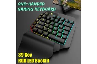 RGB LED Backlit Mini One-Handed Gaming Keyboard USB Wired Game 35 Key Accessory