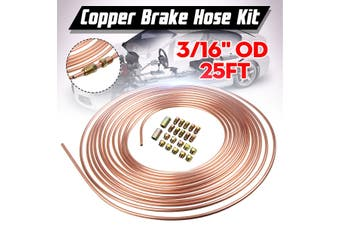 25ft Copper Brake Pipe Hose Kit 10 Male & 10 Female Nuts Joiner Joint 3/16 Union(22PCS Fittings)