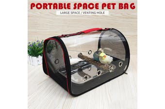 Transparent Pet Backpack Parrot Carrier Cage Bird Travel Bag Wooden Stands House