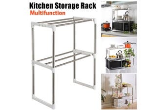 2 Tier Multifunction Microwave Oven Stainless Steel Shelf Kitchen Storage Rack