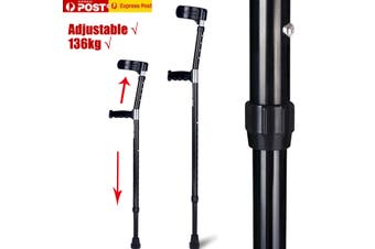 1 Pair Adjustable Lightweight Soft Underarm Forearm Elbow Crutches Walking Stick