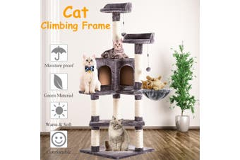 "51"" Cat Tree Scratcher Cardboard Play House Condo Furniture Bed Post Pet Home"