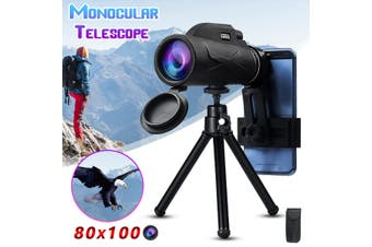 80x100 HD Zoom Telescope Monoculars Optical Lens Night Vision Camera+Clip&Tripod