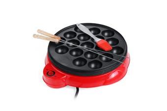 Takoyaki Grill Pan Electric Octopus Maker Stove Cooking Plate w/Brush Sticks