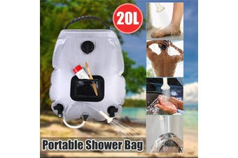 5 Gallons/20L Shower Heating Pipe Bag Solar Water Heater for Outdoor Wild Camping Hiking BBQ+Temperature Display