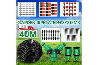 40m Water Irrigation Kit Set Automatic Micro Drip Garden Hose System Drippers