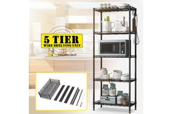 5 Tier Steel Wire Shelving Unit Metal Rack Home Kitchen Storage Shelf Adjustable
