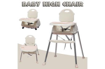 Baby High Chair Convertible Play Table Seat Booster Toddler Feeding Tray Wheel
