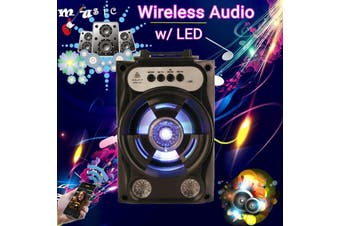 Portable Wireless bluetooth Speaker with LED Light Subwoofer Karaoke Machine, Support TF Card, U Disk, FM Radio for Home Party