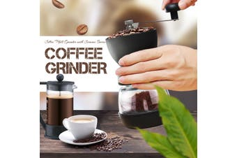 Coffee Mill Grinder with Ceramic Burrs, Two High-quality Glass Jars, Stainless Steel Handle and Silicon Cover