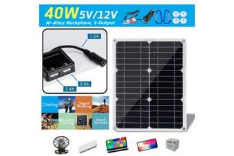 40W 18V Mono Solar Panel Dual 12V/5V DC USB Monocrystaline Flexible Solar Charger For Car RV Boat Batte Charger