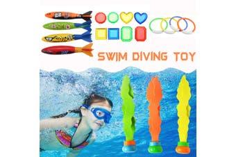19pcs Underwater Sinking Swimming Diving Pool Toy Kids Water Fun Ring Ball Fish (19PCS)