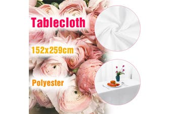 (WHITE-152x259cm)Ins Style Dustproof Washable Rectangle Polyester Tablecloth Table Cover For Dinner Party/Wedding/Banquet/Restaurant/Meeting Room-Anti-wrinkle