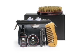 7Pcs/Set Beard Suit Beard Comb Brush Cream Oil Beard Styling Care Cleaning Kit
