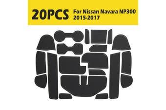 Gate slot Mats pad For Nissan Navara NP300 2015-2017 Non-slip BLACK Cup Holder