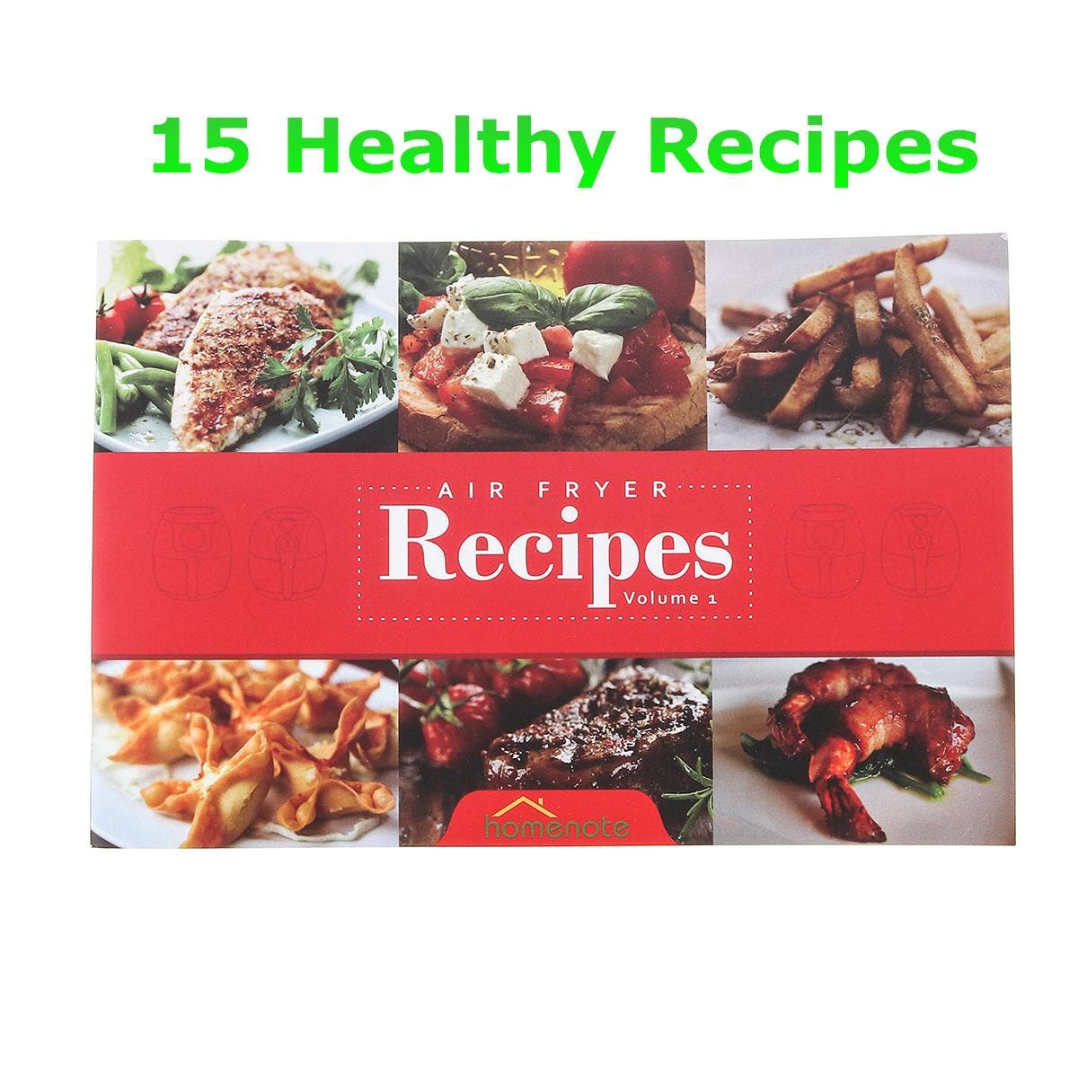 Air Fryer Cookbook Healthy Air Fryer Recipe Book Recipe Book With 15 Delicious Meals This recipe introduces food made with Air Fryer.    Package included:  1 X Air Fryer Recipe Book    Specification:  The number of pages:30  Language: English  Product Dimensions:8.1 × 5.4 × 0.2 cm