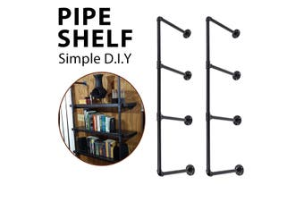KCASA Industrial Ladder Shelf Pipe Floating Wall Mount Shelf Bookshelf Storage 2pcs E Shape 4 Tier