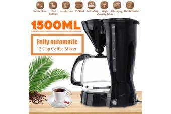 12 Cup 1.5L Automatic Electric Drip Espresso Coffee Maker Machine Cafe Latte Tea