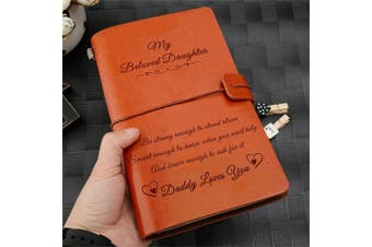 To My Beloved Daughter Daddy Loves You Engraved Leather Journal Notebook Diary