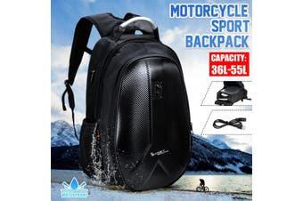 Large Capacity Motorcycle Backpack -Hard Shell Waterproof Motorbike Helmet Backpack with 36L-56L Capacity Travelling Laptop Backpack -USB Charging Port Backpack