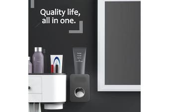 Automatic Toothpaste Holder Wall-mounted Punch-free Toothpaste Toothbrush Rack Toothpaste Rack Lazy Squeeze Artifact(black,M01)