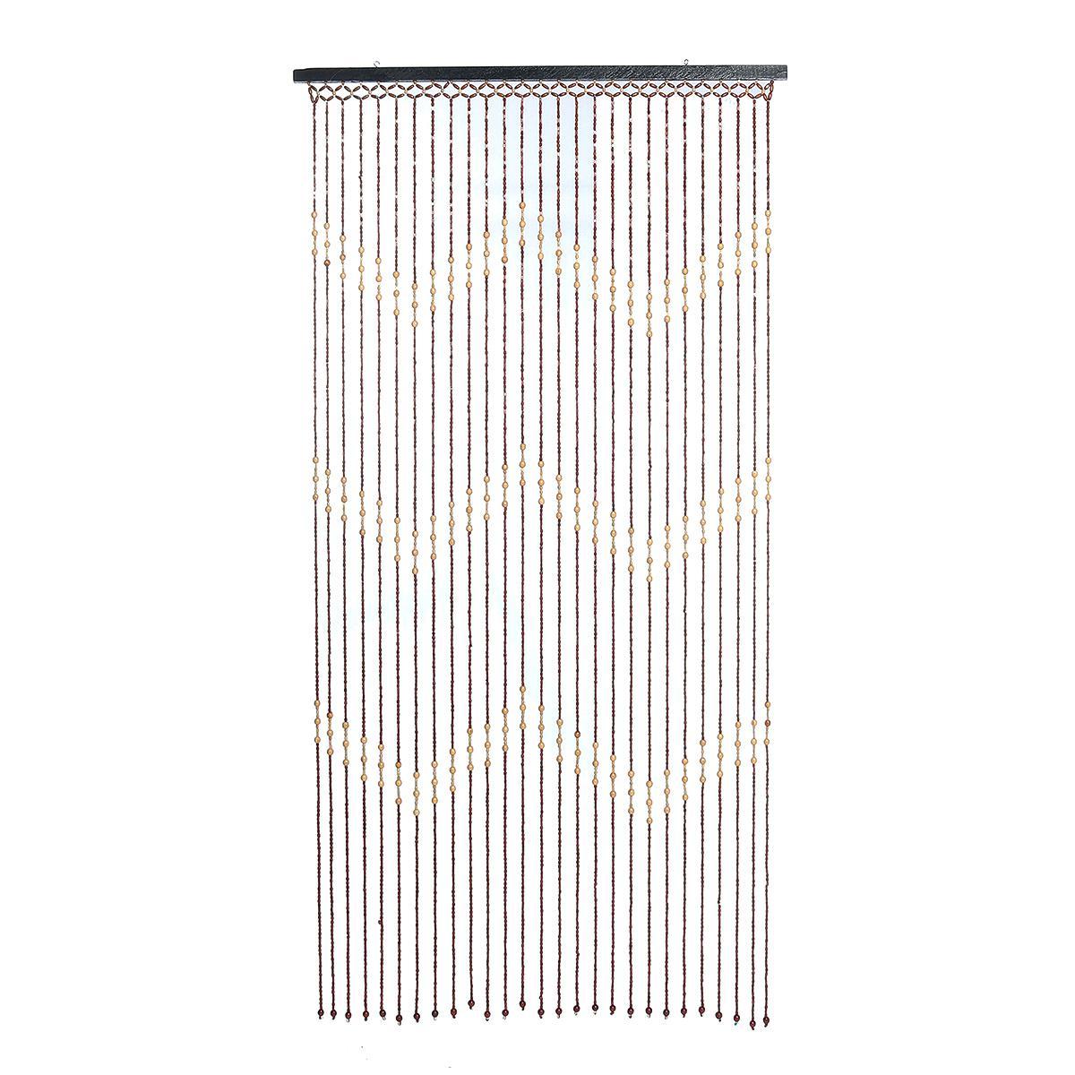 Fashion Wooden Beads Door Curtain Blinds Handmade Fly Screen Wooden Beaded Balcony Room Divider Decor 90x175cm Matt Blatt