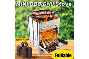 Potable Folding Outdoor Camping Wood Stove Picnic BBQ Grill Stainless Steel Set