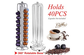 360° Rotating Stainless Coffee Capsule Holder Rack Stand Storage 40 pods For Nespresso