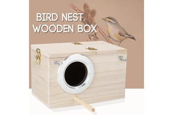 Budgie Nest Wooden Box Breeding Boxes Aviary Bird House Nesting w/ Stick Window
