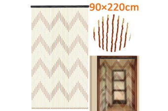 90x220cm 31 Line Wooden Bead Curtain Fly Screen Porch Bedroom Living Room