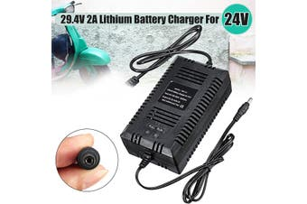 29.4V 2A Power DC Charger Adapter for 24V Electric Bike Lithium Li-on Battery
