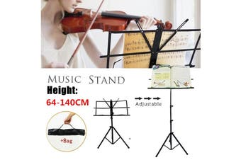 djustable Folding Sheet Music Stand Clip Score Holder Mount Tripod Carrying Bag Black