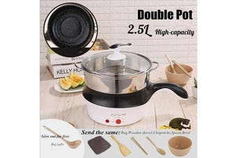220V Multifunction Electric Mini Cooking Pot Non-Stick Coating Pot Electric Cookware For 1-2 People Steaming Cook & Fry Double Pot 2.5 L Capacity